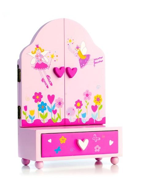 Šperkovnice dětská PRINCESS se zásuvkou dřevěná