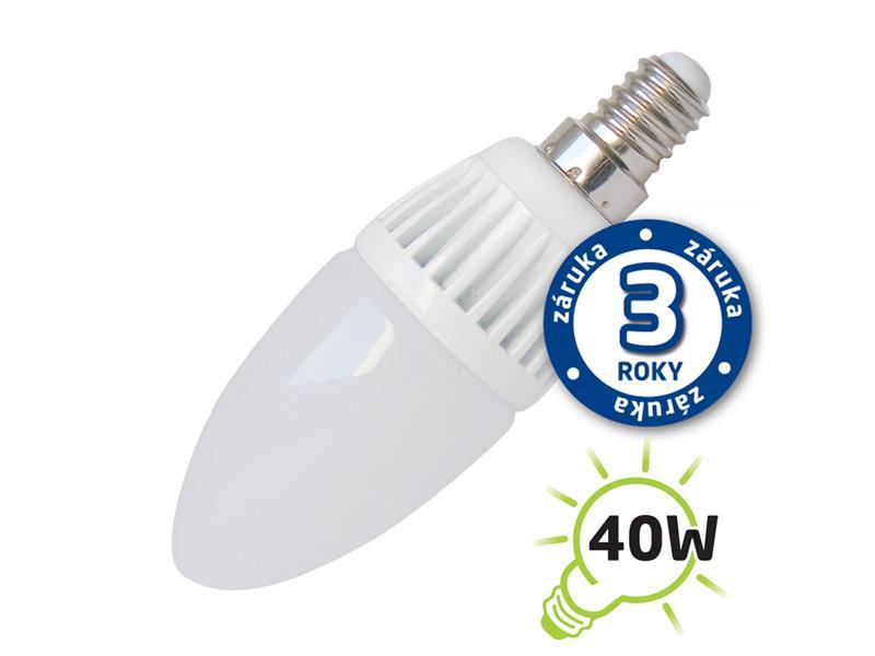 Žárovka LED C37 E14 5W bílá přírodní (Al) TIPA