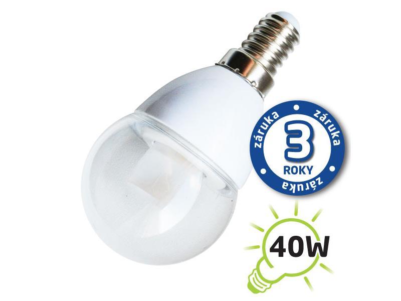 Žárovka LED G45 E14 5W bílá teplá (Pc), čirá TIPA