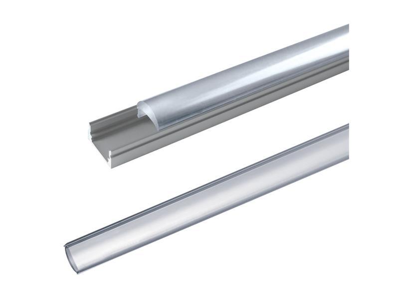 AL profil pro LED, AL60 + plexi (vypouklé) k přisazení 17,1x13mm l=1m (zacvakávací/zasunovací)