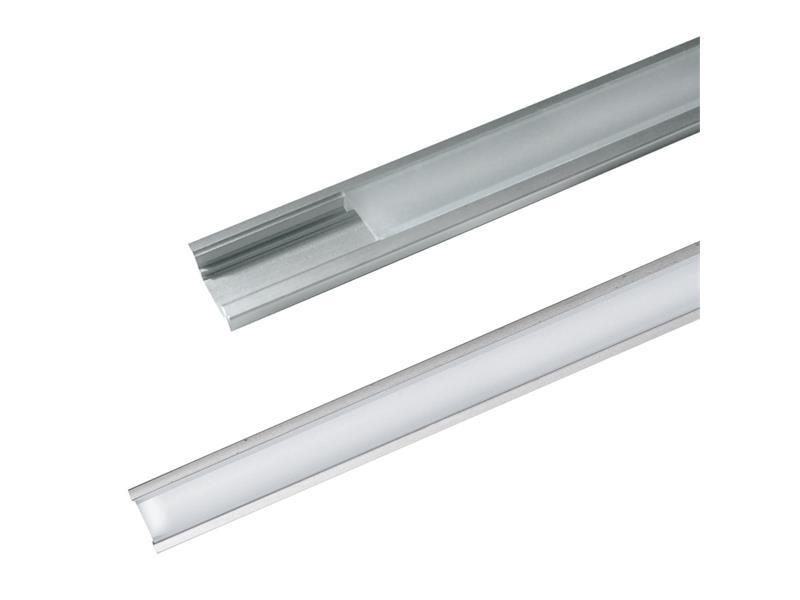 AL profil pro LED, AR1 + plexi pro zapuštění 24,5x8mm l=1m (zacvakávací/zasunovací)