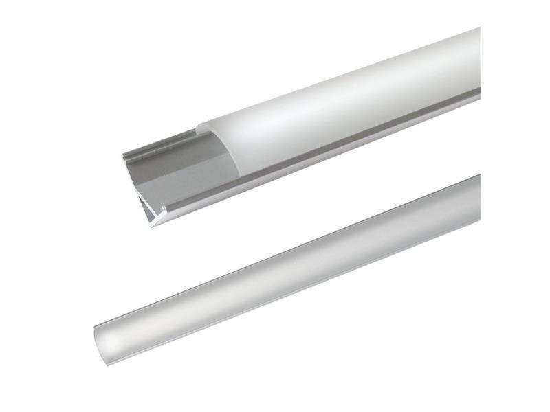 AL profil pro LED, AC2 + plexi rohová 16x16mm l=1m (zacvakávací/zasunovací)
