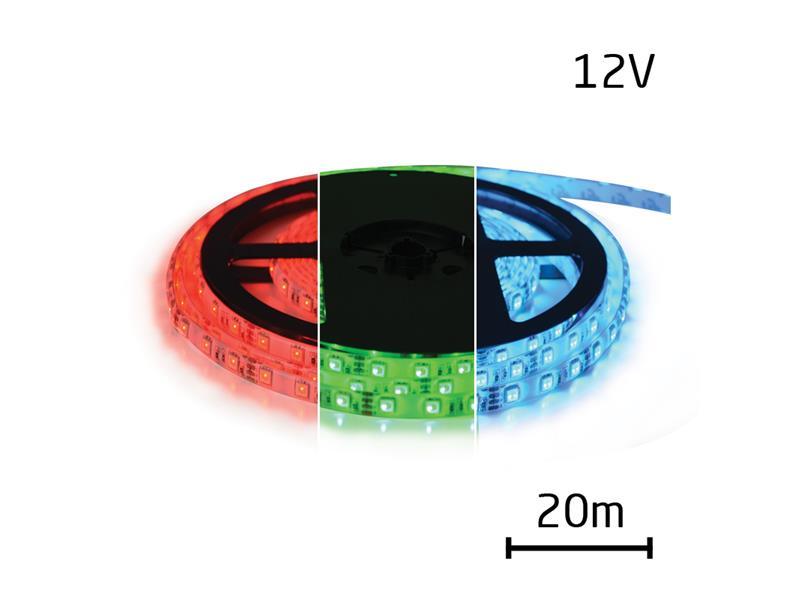 LED pásek 12V 5050 60LED/m IP65 max. 12W/m RGB (cívka 20m) zalitý