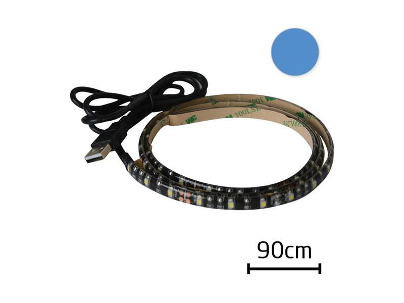 LED pásek s USB, 90 cm, modrá