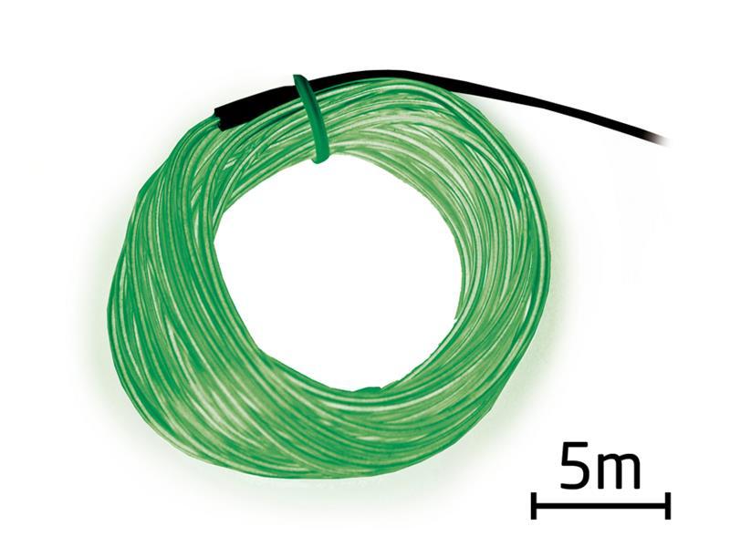 Svítící kabel - drát, 5m, zelený