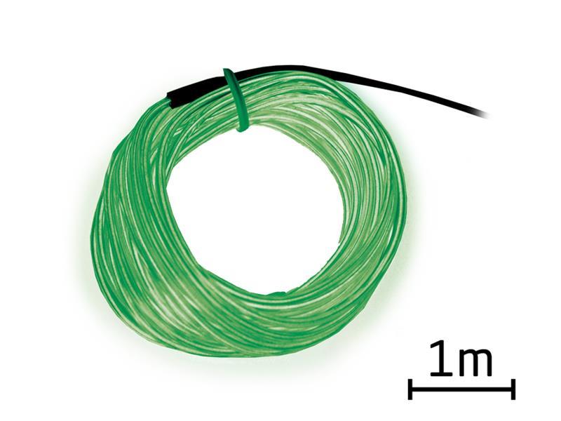 Svítící kabel - drát, 1m, zelený