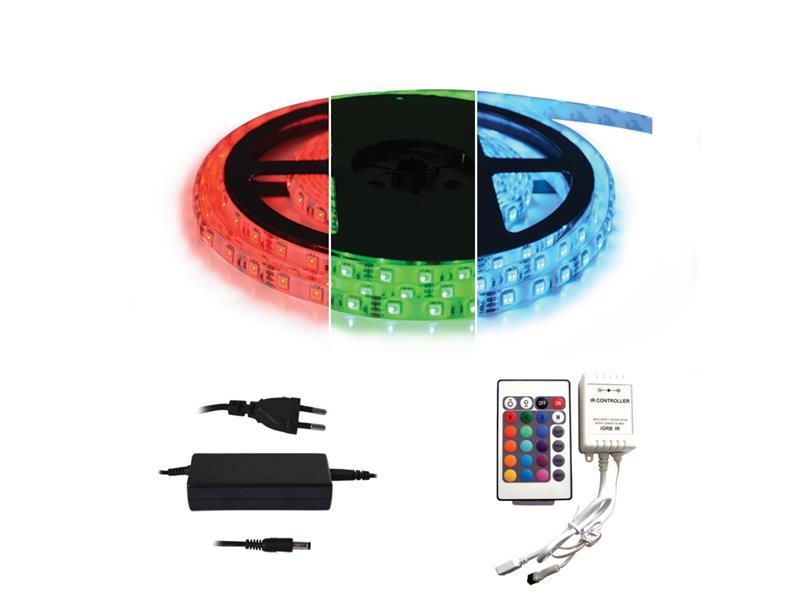 LED pásek 12V 5050 60LED/m IP65 max. 12W/m RGB, sada s 12V adaptérem a dálk. ovladačem, zalitý