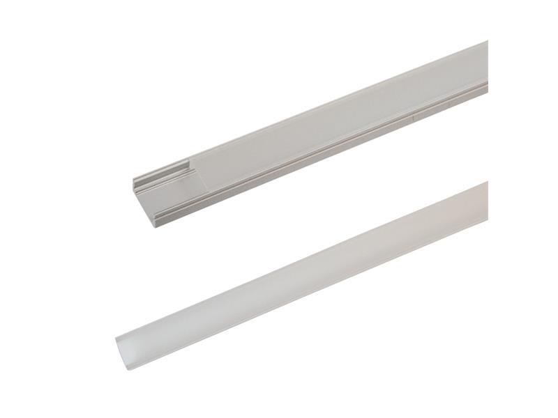 AL profil pro LED, AS1 + plexi k přisazení 17,1x8,6mm l=2m (zacvakávací/zasunovací)