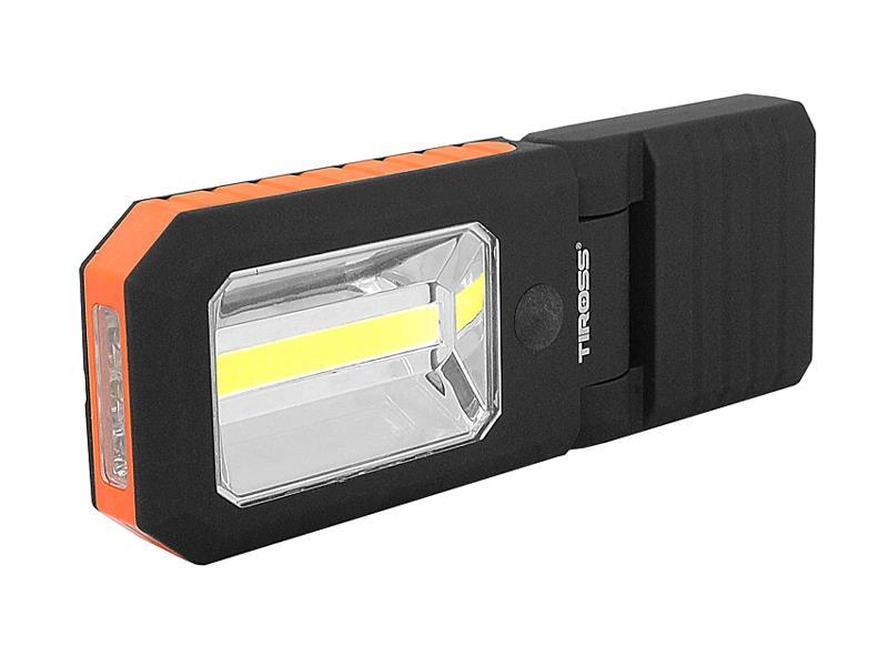 Svítilna ruční TIROSS TS-1833 4 LED+COB, 3x AAA oranžová s magnetem