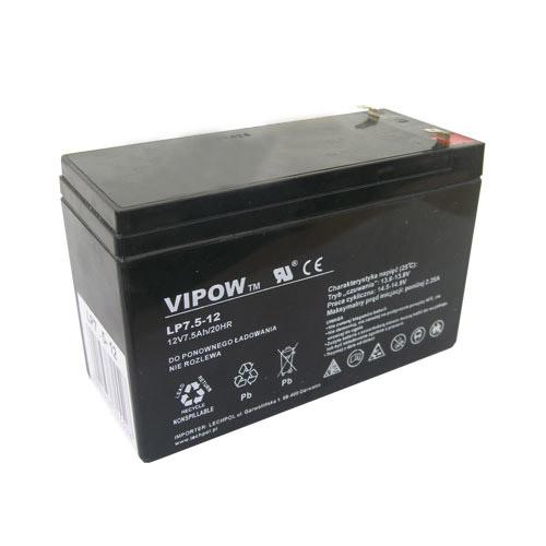 Baterie olověná 12V/ 7.5Ah VIPOW (7,2Ah) bezúdržbový akumulátor