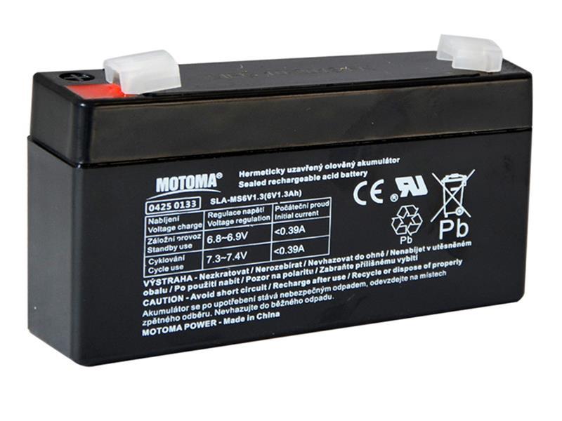 Baterie olověná 6V/ 1,3Ah MOTOMA bezúdržbový akumulátor