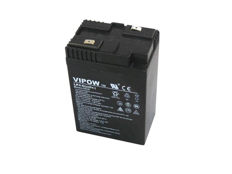 Baterie olověná 6V/ 4.0Ah VIPOW bezúdržbový akumulátor