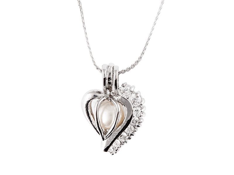 Perla přání v perlorodce - přívěšek srdce zirkon