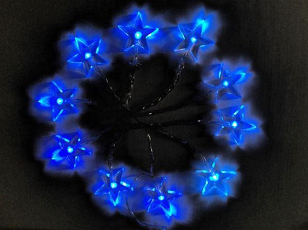 LED vánoční řetěz, hvězdy, 1m, 10x LED, 2x AA, modré světlo