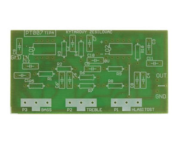 Plošný spoj TIPA PT007 Kytarový a mikrofonní korekční zesilovač