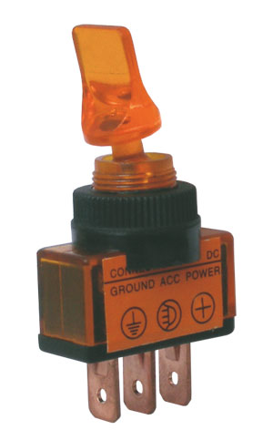 Přepínač páčkový 2pol./3pin ON-OFF 12VDC prosv. žlutý