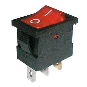 Přepínač kolébkový 2pol./3pin ON-OFF 250V/6A pros. červený