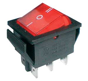 Přepínač kolébkový 3pol./6pin ON-OFF-ON 250V/15A pros. červený