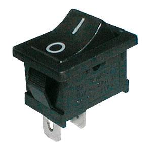 Přepínač kolébkový 2pol./2pin ON-OFF 250V/6A černý 0-I