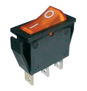 Přepínač kolébkový 2pol./3pin ON-OFF 250V/15A pros. žlutý