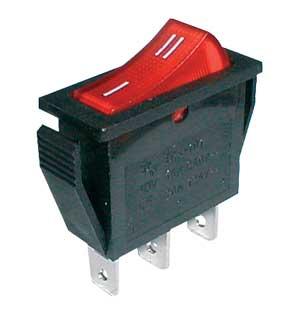 Přepínač kolébkový 2pol./3pin ON-ON 250V/15A červený
