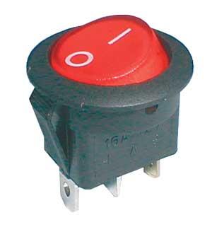 Přepínač kolébkový kul. pros. 2pol./3pin ON-OFF 16A/12VDC červený