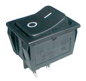 Přepínač kolébkový 2pol./4pin ON-OFF 250V/15A černý.