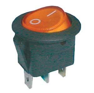 Přepínač kolébkový kul. pros. 2pol./3pin ON-OFF 16A/12VDC žlutý