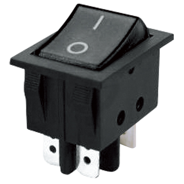 Přepínač kolébkový 2pol./4pin (ON)-OFF 250V/15A