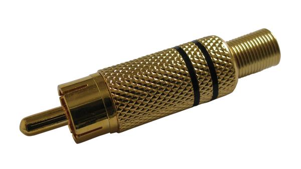 Konektor CINCH kabel kov zlatý černý