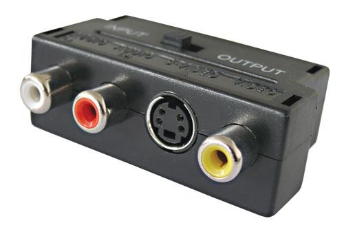 Redukce Scart konektor / 3 x CINCH zdířka + SVHS + přepínač IN/OUT