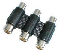 Spojka CINCH kabel/ 3xzdířka-3xzdířka