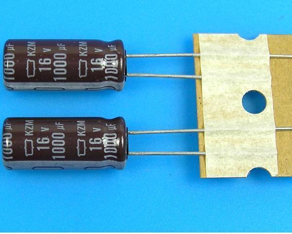 1000uF/16V - 105°C Nippon KZM kondenzátor elektrolytický, low ESR, long life, high ripple current
