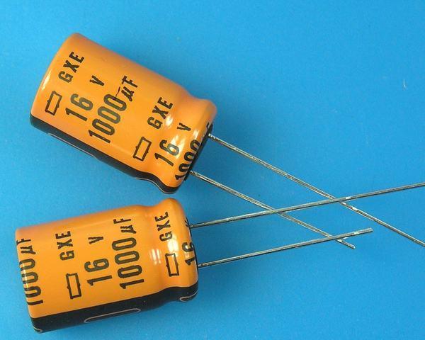 1000uF/16V - 125°C Nippon GXE kondenzátor elektrolytický high temperature, long life