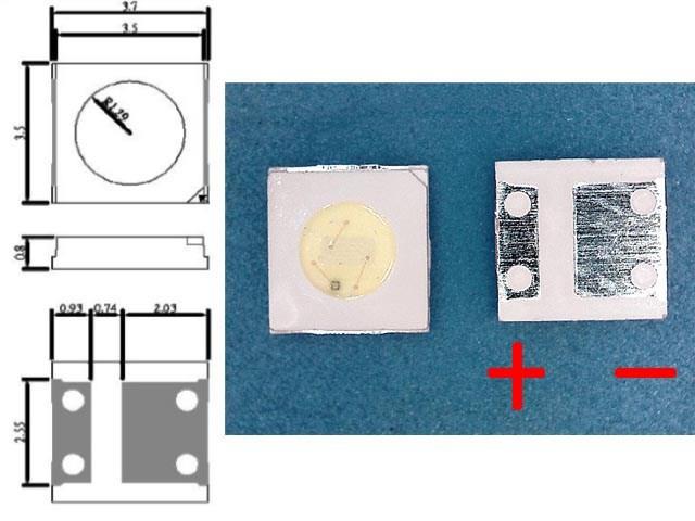 LED podsvit samostatná dioda 3535 / 3537 3V 1W UNI