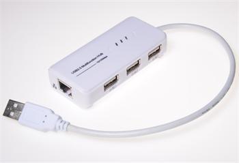 MicroConnect USB2.0 HUB 3-portový + Ethernet 10/100Mbps, bez ext. napájení, bílý