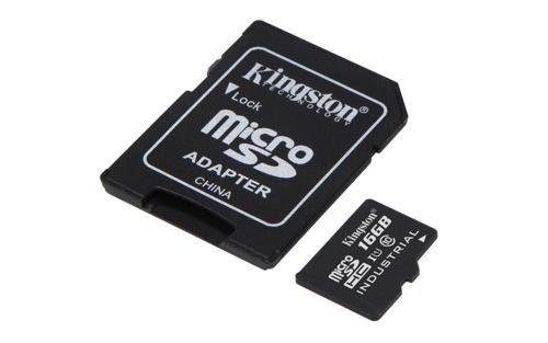 KINGSTON 16GB microSDHC UHS-I Class 10 Industrial Temp Card + SD Adapter