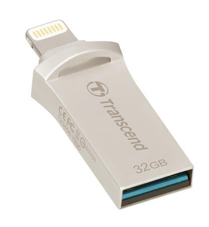 Transcend 32GB JetDrive Go 500, Lightning/USB 3.1, stříbrný