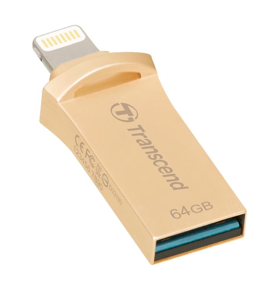 Transcend 64GB JetDrive Go 500, Lightning/USB 3.1, zlatý