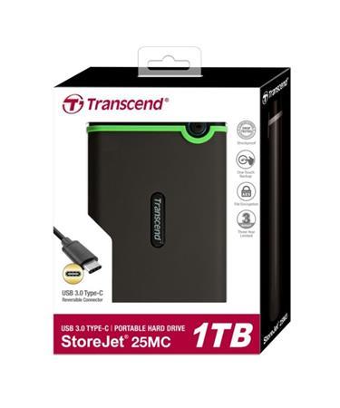 """TRANSCEND 1TB StoreJet 25MC, USB Typ-C, 2.5"""", Externí odolný hard disk, šedý"""