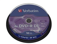 VERBATIM DVD+R(10-pack)DOUBLE LAYER 8X 8.5GB MATT SILVER SURFACE/spindle