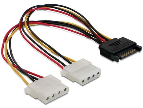 Power Adapter SATA 15-pin samec na 2x Molex 4-pin samice, 20cm