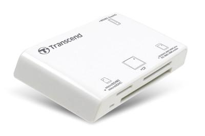 Transcend USB čtečka paměťových karet, bílá - SD,SDHC,microSD, microSDHC, Memory Stick, MMC, ...