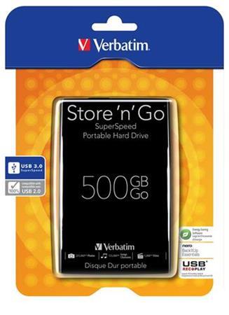 "Akce!!! VERBATIM HDD 2.5"" Store 'n' Go 500GB USB 3.0, Black"