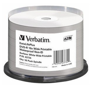 VERBATIM DVD-R(50-Pack)Spindle/Printable/16x/4.7GB/Waterproof//NON-ID