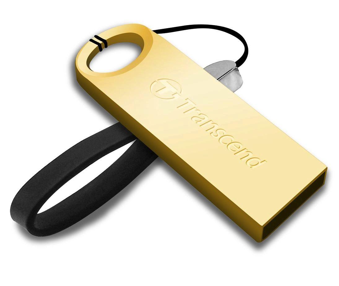 Transcend 8GB JetFlash 520G, USB 2.0 flash disk, malé rozměry, zlatě obarvený kov