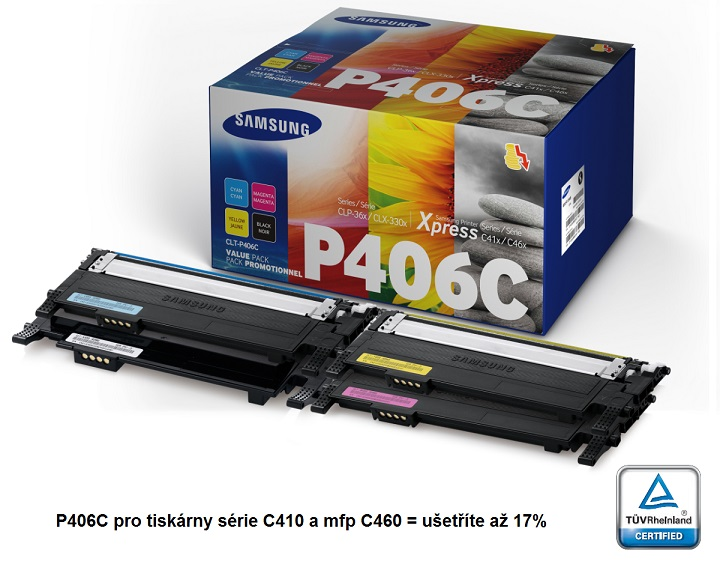 Samsung toner CMYK sada CLT-P406C pro CLP-360/365/CLX-3300/3305/C410/C460 - 1500/1000 str.