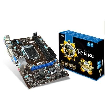 MSI H81M-P33, 1150, H81, 2xDDR3, 1xPCIe16, GL, 8CH, USB3.0, uATX