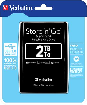 """VERBATIM Hard Drive 2,5"""" 2TB USB 3.0 Black"""