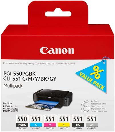 Canon cartridge PGI-550/CLI-551 PGBK/C/M/Y/BK/GY Multi Pack